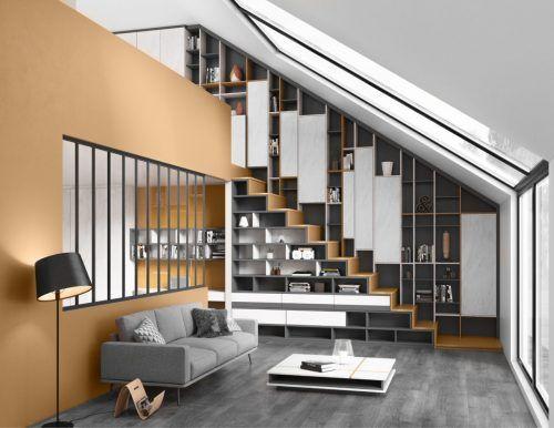 Bibliothèque sur mesure sous-pente créée à Blainville par ADN Design