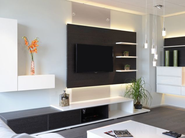 meuble de rangement sur mesure avec télévision