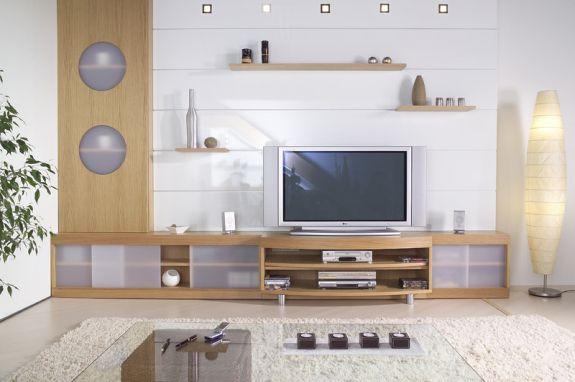 salon sur mesure avec télévision construit par ADN Design